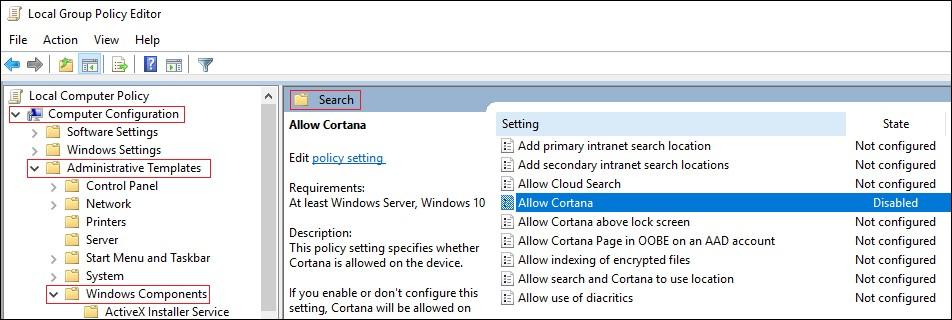 uninstall Cortana
