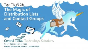 Email Distribution Lists and contact groups in Outlook, Georgetown TX
