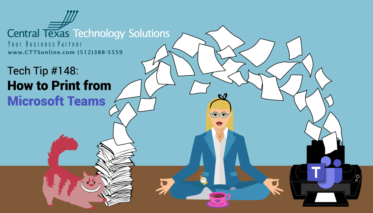 Alice in Workland How to Print from Microsoft Teams Georgetown TX