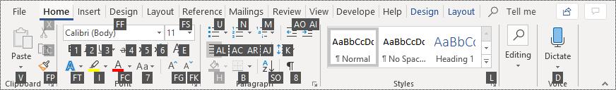 Word shortcuts