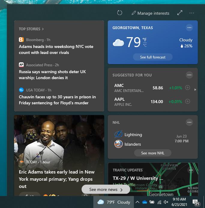 news and interests widget weather widget windows 10 taskbar