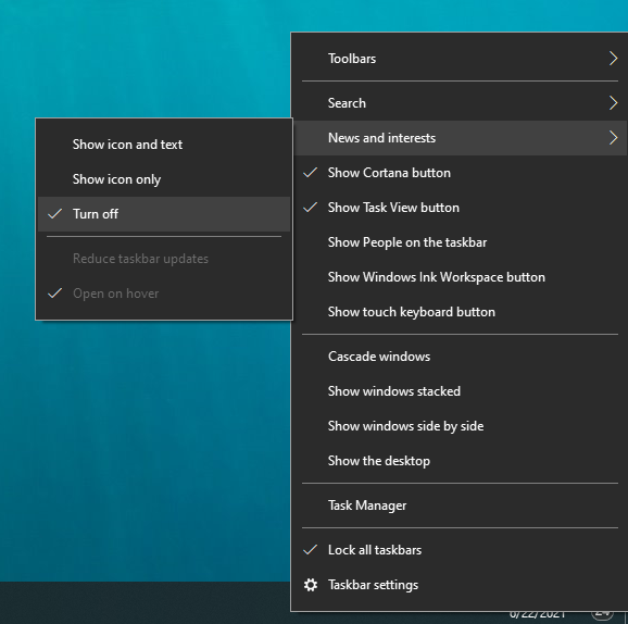 turn off weather windows 10 taskbar